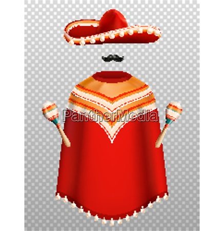 mexican traditional clothes realistic set with