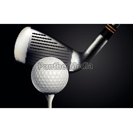 golf club and ball on black