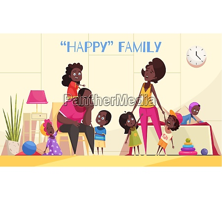 afroamerican large family in home interior