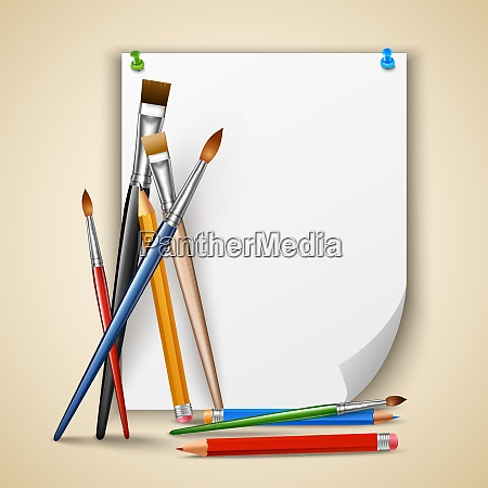 art color paintbrushes and pencils with