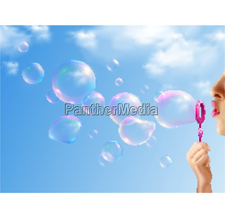 woman inflating soap bubbles on background