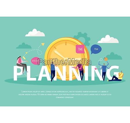effective management concept flat background composition