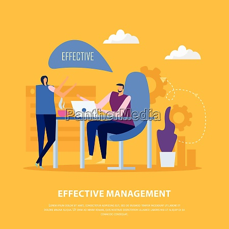 effective management concept flat background with