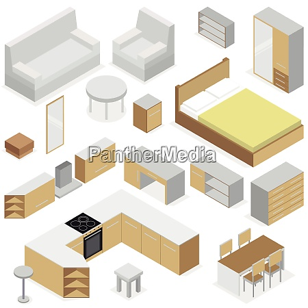 home furniture isometric set of elements