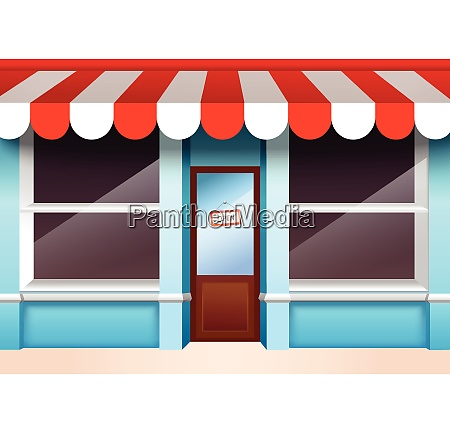 store shop front window with empty