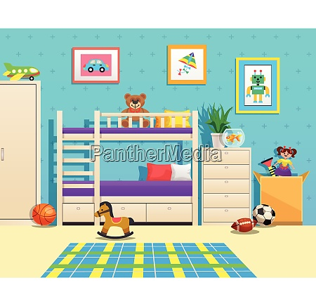 tidy children room interior with bunk