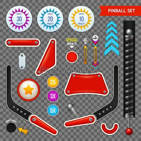 isolated pinball elements transparent icon set