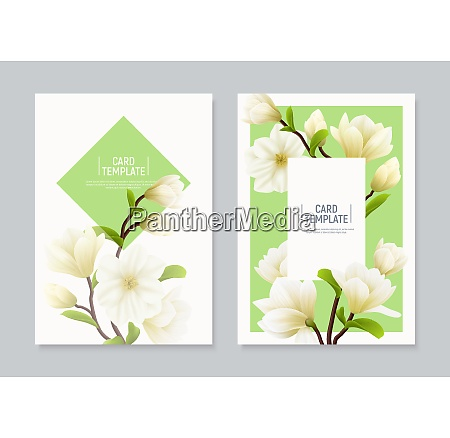 two vertical colored realistic magnolia flower