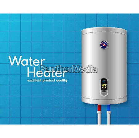 colored realistic electric water heater boiler