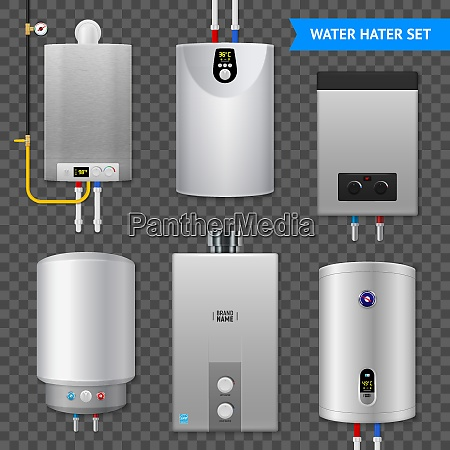 realistic electric water heater boiler transparent
