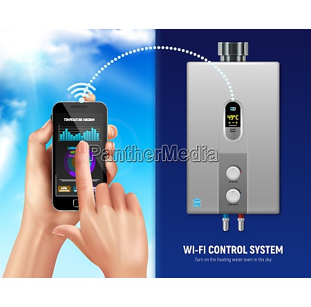 colored realistic water heater smart banner