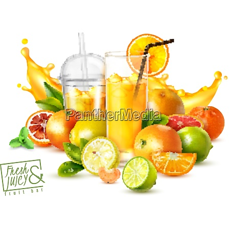 realistic poster with citrus fruits and