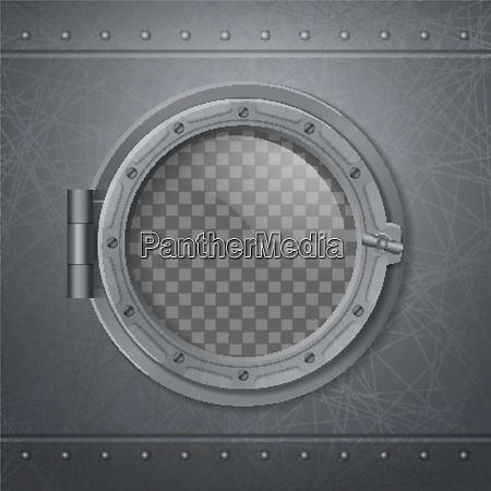 gray metal porthole realistic and 3