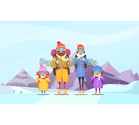mountaineering family winter vacation cartoon poster