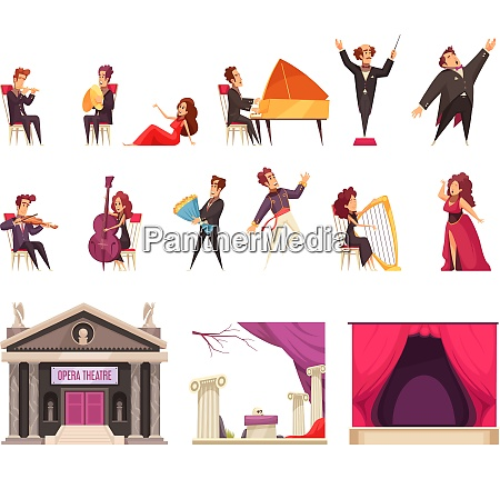 opera theater flat cartoon elements set