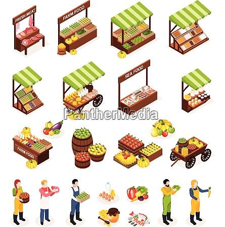 farmer market isometric icons set of
