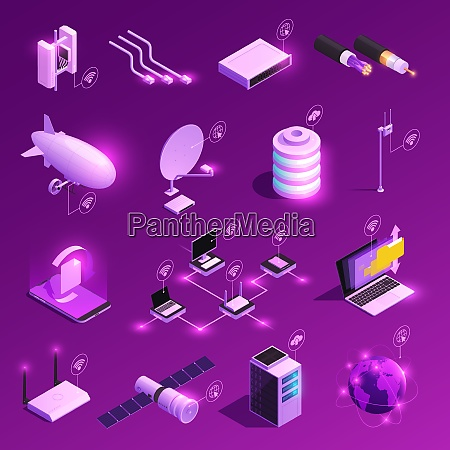 global network isometric glowing icons of