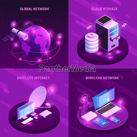 global network isometric design concept with
