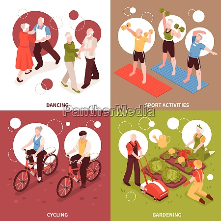 senior people concept icons set with