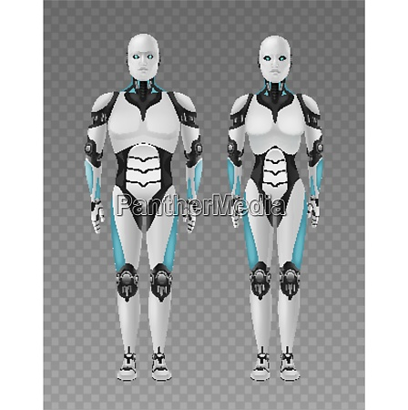 robot android realistic 3d composition with