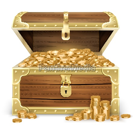 realistic open old wooden chest with