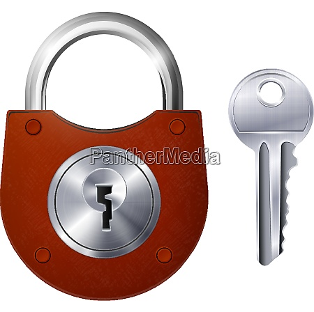 new red padlock and metallic key