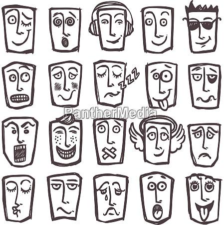 sketch emoticons man head face expressions