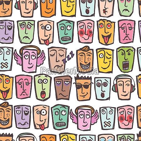 sketch emoticons man emotions colored seamless