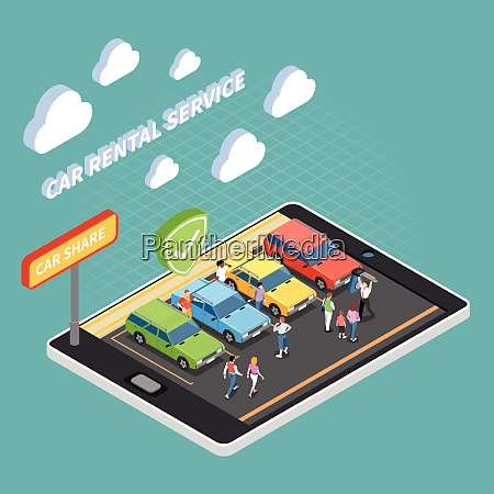 carsharing isometric concept with car rental
