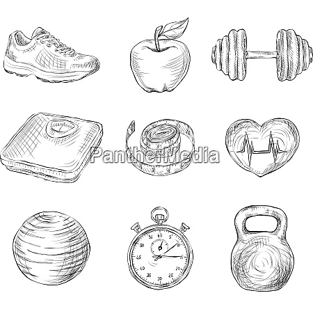fitness bodybuilding diet and healthcare sketch