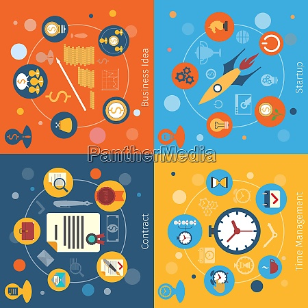modern web concepts flat set with