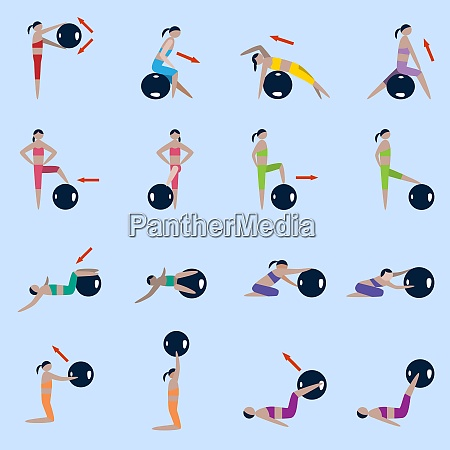 women silhouettes with fitness ball sport