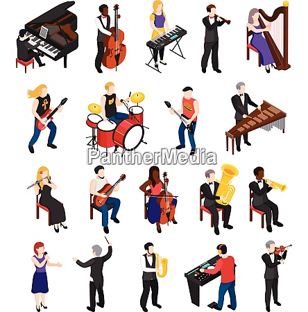 conductor singer and musicians with stringed