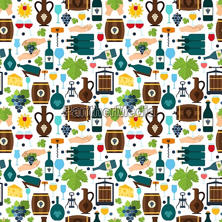 wine tradition alcohol drink seamless pattern