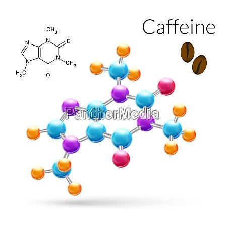 caffeine 3d molecule chemical science atomic