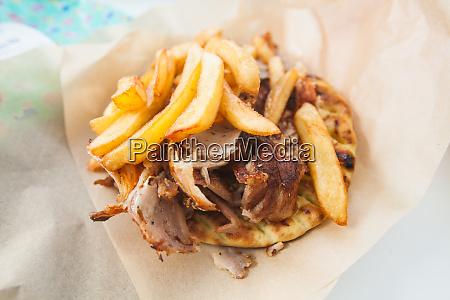 gyros traditional greek fast food sliced