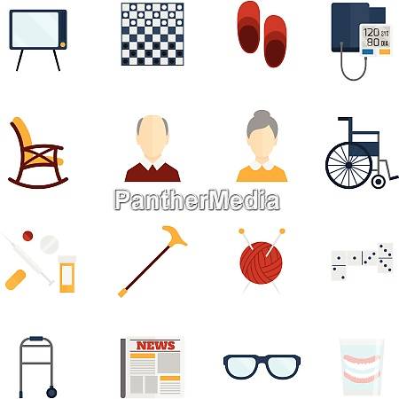 pensioners life old man care icons
