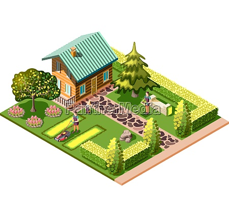 landscaping isometric composition with residential house