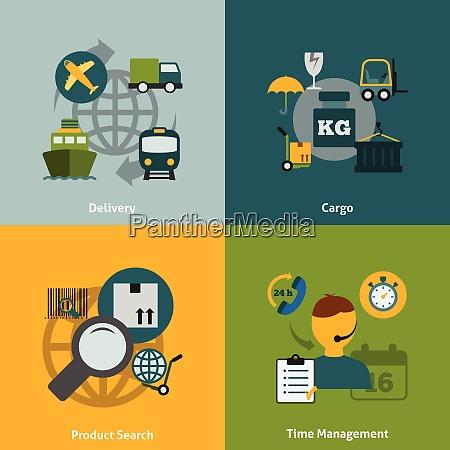 global logistics transportation coordination concept flat