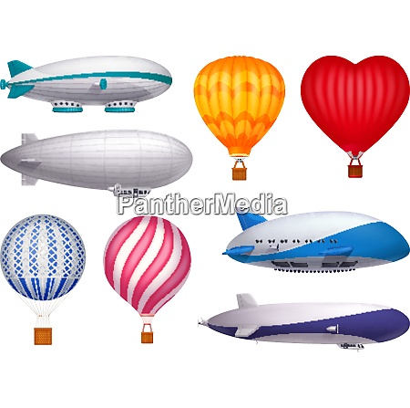 dirigible and balloons transportation design realistic