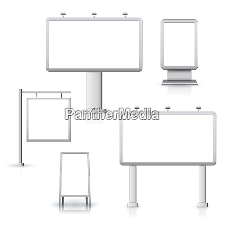 blank advertising sign outdoor boards set