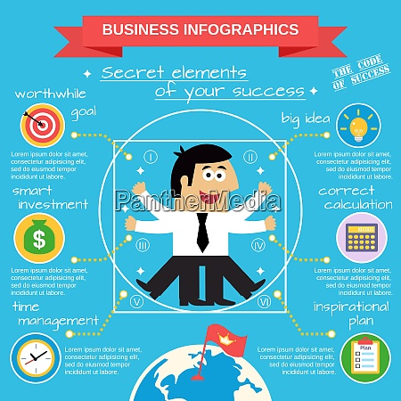 business life infographic set with employee