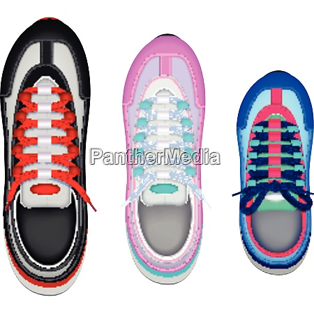 colorful family sport shoes realistic top