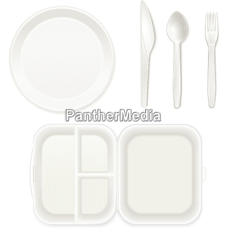 disposable white plastic plate cutlery knife