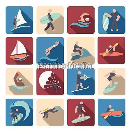 water sports summer extreme activity colored