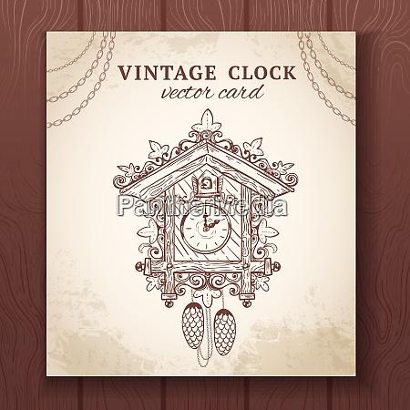 old vintage retro sketch cuckoo clock
