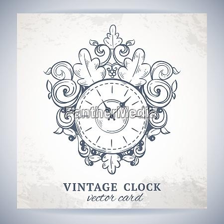 old vintage retro sketch wall clock