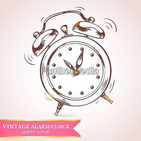 old vintage retro sketch ringing alarm