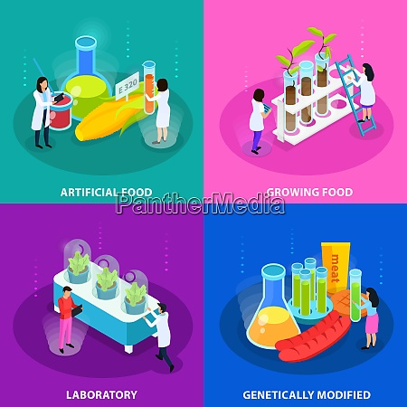 artificial foods isometric design concept with