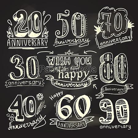 anniversary celebration ceremony congratulations signs chalkboard
